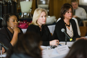 """On Monday, March 2, 2015, New York Democratic Senator Kirstin Gillibrand took part in a round-table discussion at the University of Rochester on the topic at sexual assault on college campuses. Gillibrand met with students and officials, as well as survivors, advocates and law enforcement to discuss ways to combat campus sexual violence. The event was held in the Wells Brown Room in Rush Rhees Library on the University of Rochester's River Campus. (Photo by Brandon Vick, University Communications, http://www.rochester.edu/)"""